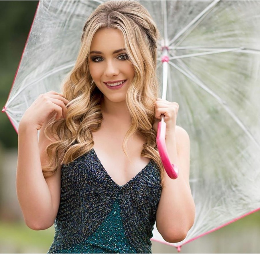 Model in a green dress with an umbrella